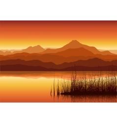 Mountains near lake vector