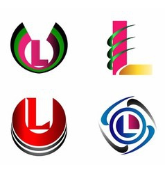 Letter l logo icons set graphic design vector