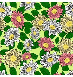 Yellow hand drawn flowers vector