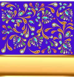Background with precious stones and gold band vector