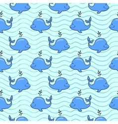 Seamless pattern with whale on blue ocean vector