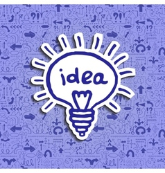 Light bulb icon on arrow filled background vector