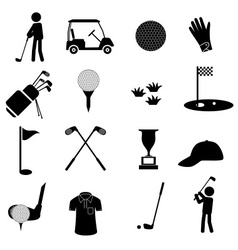 Golf sport simple black icons set eps10 vector