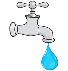 Water faucet with water drop vector