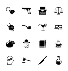 Detective icons and symbols isolated silhouette vector