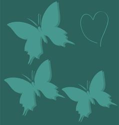 Butterfly mint blue green love animals heart vector