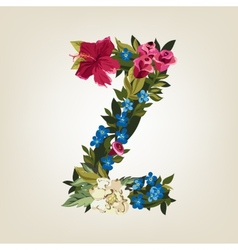 Z letter flower capital alphabet colorful font vector