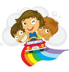 Kids in a car vector