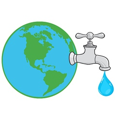 Earth globe with water faucet vector