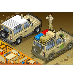 Isometric safari jeep in rear view vector