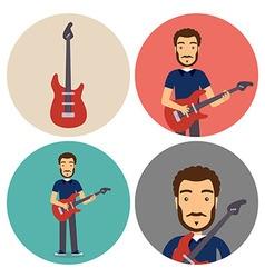 Guitar musician flat circle icons set vector
