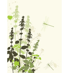 Wildflowers and dragonfly vector