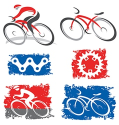 Cyclists and cycling elements icons vector