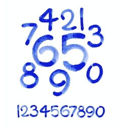 Watercolor hand written blue numbers vector