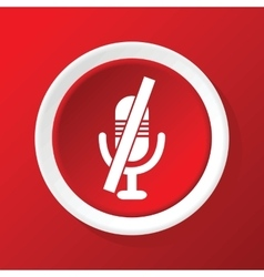 Muted microphone icon on red vector