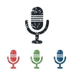 Microphone grunge icon set vector
