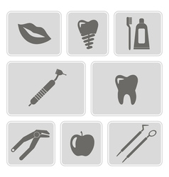 Monochrome icons with dental symbols vector