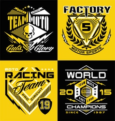 Motocross sports shield emblem set vector