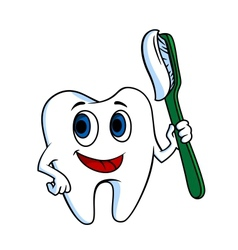 White tooth with tooth-brush vector