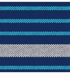 Seamless knitted pattern with blue white stripes vector