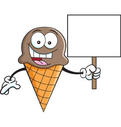 Cartoon ice cream cone holding a sign vector
