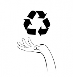 Caring hand with recycle icon vector
