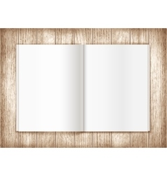 Blank magazine on wooden background template vector