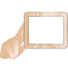 Hand and tablet computer with empty monitor vector