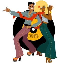 Disco dancers back to back vector