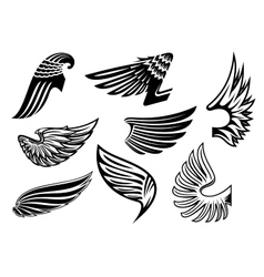 Heraldic angel black and white wings vector