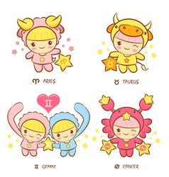 Aries and taurus twins and crab mascot vector