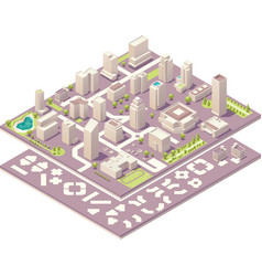 Isometric city map creation kit vector