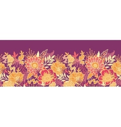 Fall flowers and leaves horizontal seamless vector