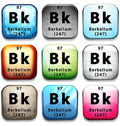 A button showing the element berkelium vector