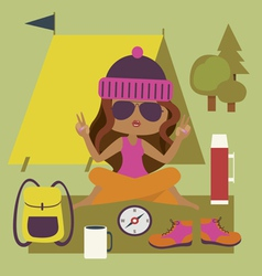 Camping styel with fashionable girl vector