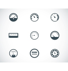 Black meter icons set vector