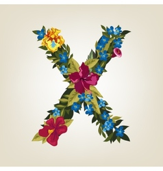 X letter flower capital alphabet colorful font vector