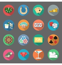 Casino flat icons set vector