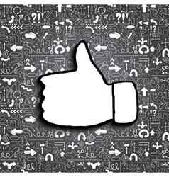 Thumb up icon on arrow filled background vector