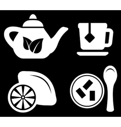 Set white tea objects vector