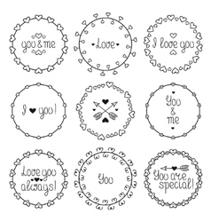 Hand drawn frame of romantic pattern with hearts vector