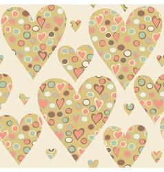 Cartoon hearts and circles seamless pattern vector