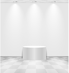 White room with round stage vector