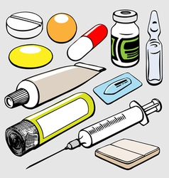 Medical objects set vector