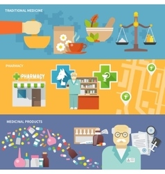 Pharmacist banner set vector