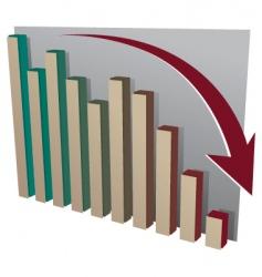 Stock market crash chart vector
