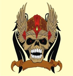 Skull in an ancient helmet of vikings vector