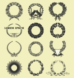 Laurel and wreath set elements vector