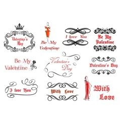 Calligraphic and vintage elements for valentines vector
