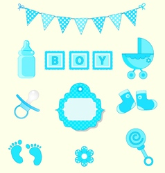 Baby boy set of design element for scrapbook and vector